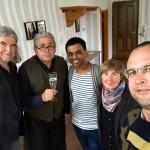"""Treffen im """"Hundertwasser- Haus"""" in  Wien mit dem bekannten Kinderbuchautor Heinz Janisch, Karl Huck, Al Kabir Thupsee, Wiebke Volksdorf und Konrad Hirsch; 2016"""