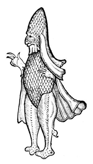 Caliban - Mensch oder Fisch, eine Illustration aus dem 16.Jahrhundert